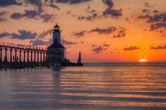 Dramatic Sunset at Michigan City East Pierhead Lighthouse stock images