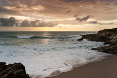 Dramatic sunset in Newquay, Cornwall, England Royalty Free Stock Images