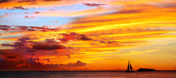Dramatic sunset at Oahu Island Royalty Free Stock Image