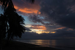 Dramatic sunset on the ocean . Fiji. Stock Photography