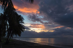 Dramatic sunset on the ocean . Fiji. Stock Photo