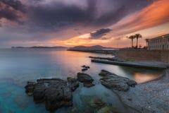Dramatic sunset over Alghero in Sardinia Royalty Free Stock Image