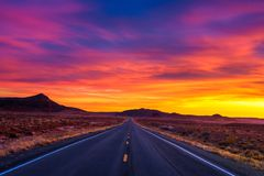 Free Dramatic Sunset Over An Empty Road In Utah Stock Image - 117289801