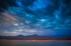 Dramatic sunset over argentinian lake. In the Salta region, northern Argentina Royalty Free Stock Photo