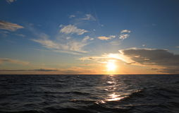 Dramatic sunset over the Baltic sea Stock Photo