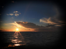 Dramatic sunset over the Baltic sea Royalty Free Stock Photography