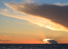 Dramatic sunset over the Baltic sea Stock Photos
