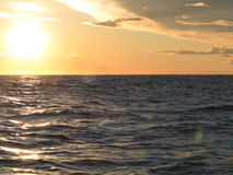 Dramatic sunset over the Baltic sea Royalty Free Stock Photos