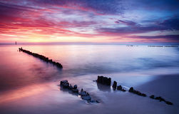 Dramatic sunset over Baltic sea, Poland Royalty Free Stock Photography