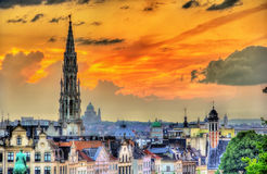 Dramatic sunset over Brussels Stock Image