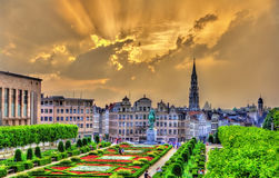 Dramatic sunset over Brussels Stock Photo