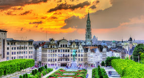 Dramatic sunset over Brussels Stock Photos