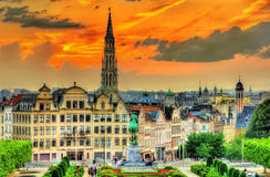 Dramatic sunset over Brussels Stock Images