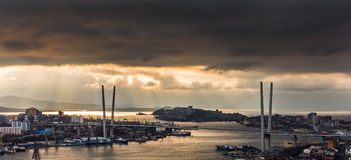 Dramatic sunset over city. Royalty Free Stock Photography