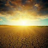 Dramatic sunset over desert Royalty Free Stock Photo