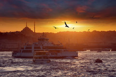 Dramatic sunset over evening Istanbul, Turkey Royalty Free Stock Photography