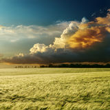 Dramatic sunset over field Stock Image