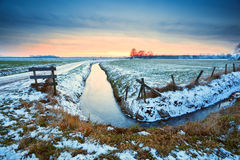 Dramatic sunset over frozen river Royalty Free Stock Photos