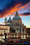Dramatic sunset over Grand Canal in Venice Stock Image