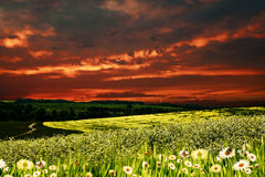 Dramatic sunset over hilly meadow Stock Image