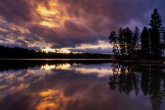 Dramatic sunset over Lake Blaine. royalty free stock images