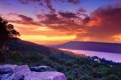 Dramatic sunset over lake. At Lam Ta Khong Reservoir, Nakhon Ratchasima province, Thailand Royalty Free Stock Image