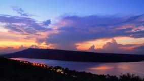 Dramatic sunset over lake. At Lam Ta Khong Reservoir, Nakhon Ratchasima province, Thailand royalty free stock photos