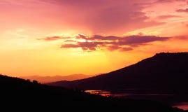 Dramatic sunset over lake. At Lam Ta Khong Reservoir, Nakhon Ratchasima province, Thailand stock images