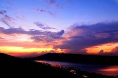 Dramatic sunset over lake. At Lam Ta Khong Reservoir, Nakhon Ratchasima province, Thailand Royalty Free Stock Photography