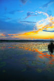 Dramatic sunset over the lake Stock Photos