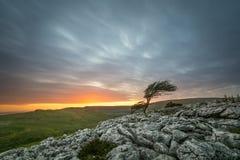 Dramatic Sunset Over Limestone Pavements Of Twistleton Scar In North Yorkshire, UK. Stock Image