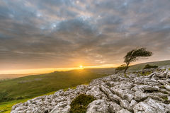 Dramatic Sunset Over Limestone Pavements Of Twistleton Scar In North Yorkshire, UK. Stock Images