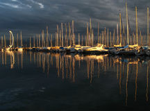 Dramatic sunset over marina royalty free stock images
