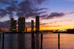 Dramatic sunset over Miami city downtown. Royalty Free Stock Photos
