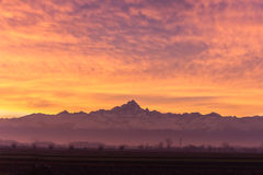 Dramatic sunset over Monviso mountain, Italy Stock Images