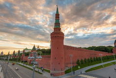 Dramatic sunset over Moscow Kremlin, Russia Royalty Free Stock Photography
