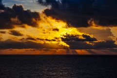 Dramatic sunset over the ocean Royalty Free Stock Photo