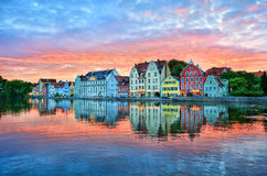 Dramatic sunset over old town of Landshut on Isar river near Mun. Dramatic sunset over old town of Landshut by Munich, a colorful gothic german town on Isar Royalty Free Stock Photos