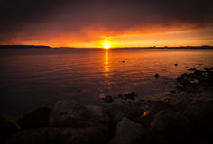 Dramatic sunset over Poole Harbour Royalty Free Stock Image