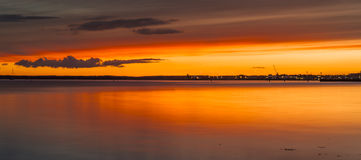Dramatic sunset over Poole Harbour Stock Photo