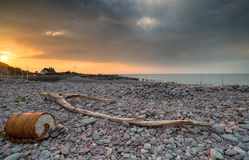 Dramatic Sunset over Porlock Weir. Dramatic stormy sky over the beach at Porlock Weir on Exmoor National Park in Somerset stock photography