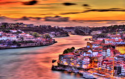 Dramatic sunset over Porto HDR Stock Photos
