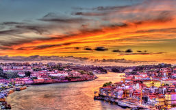 Dramatic sunset over Porto HDR Stock Photo