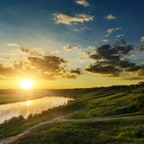 Dramatic sunset over river Royalty Free Stock Photos