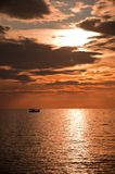 Dramatic sunset over the sea Stock Photography