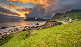 Dramatic sunset over Uttakleiv beach on Lofoten islands, Norway Royalty Free Stock Images