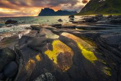 Sunset over Uttakleiv beach on Lofoten islands in Norway stock photography