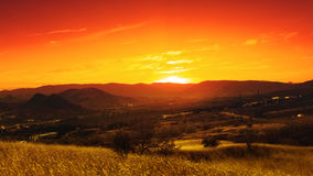 Dramatic sunset over valley. Royalty Free Stock Photography