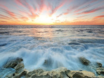 Dramatic Sunset in Perth Beach Stock Photography