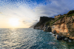 Dramatic Sunset Porto Venere, Liguria, Italy Stock Photos